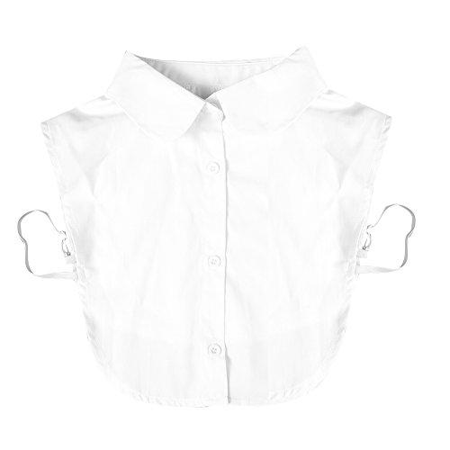 Chouette Collier Faux Femme Col Détachable Blouse Demi-shirt Chemisier Dickey Blanc