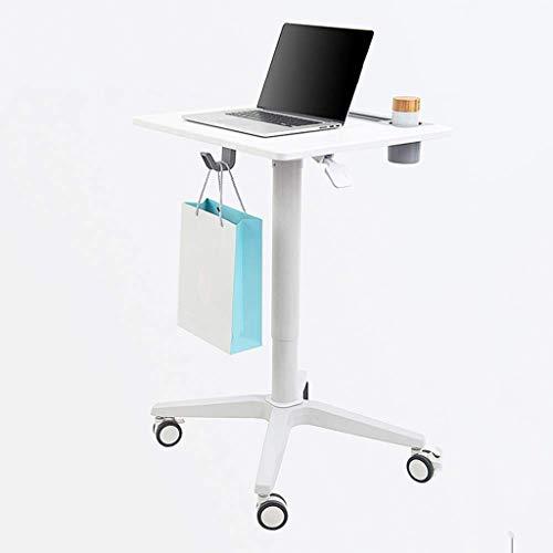 JKL- Notebookständer Laptop Tisch Tragbarer, Verstellbarer, pneumatischer Sitzständer Mobiler Tischwagen Laptop Ständer Tischständer Tisch Rolling Desk, 65x55x76-113cm, Weiß -