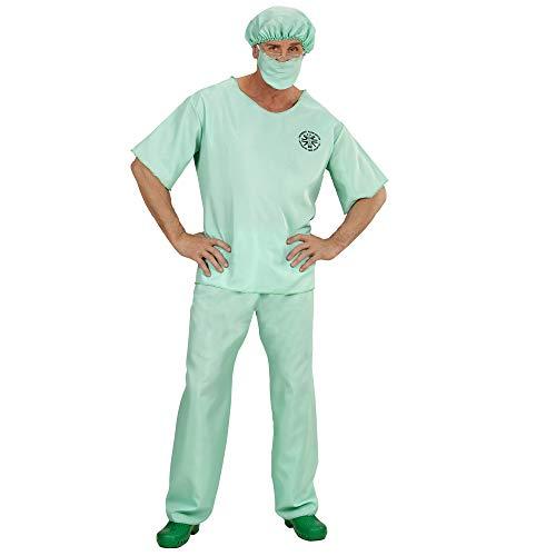 Widmann 00462 - Erwachsenenkostüm Notarzt, Oberteil, Hose, Hut und Mundschutz, grün