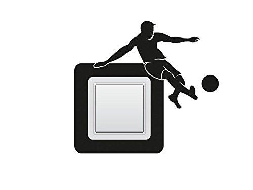 Wandtattoo Schalter-Steckdosentattoo Fußballer Nr 2 Fußball-Aufkleber Kinderzimmer Wanddeko Lichtschaltertattoo Wandschalter-Aufkleber Farbe Weiß, Größe 16x14 cm | Einer