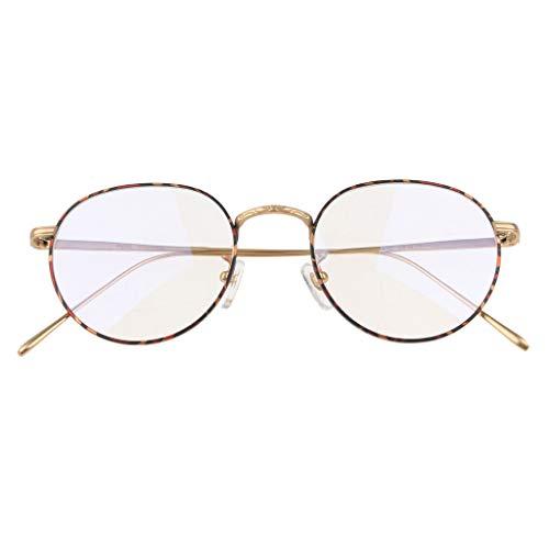 IPOTCH Runde Brillen Rahmen Damen Brillengestell, Drahtbrille - Golden
