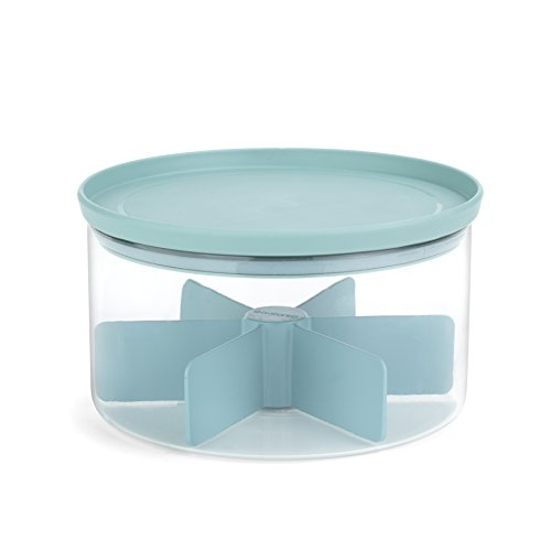 Brabantia 110665 Teedose/Deckel mint Vorratsdose, Glas, transparent, 40.5 x 40.5 x 15 cm