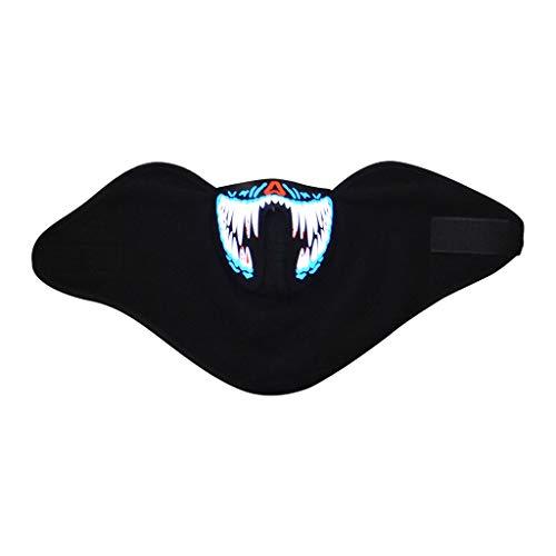 TIREOW Einstellbare LED Kaltlicht Halloween Masken, Party Kleidung Big Terror Sprachaktivierte Musik Maske für Party Kostüm Festival