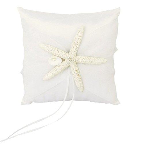 PIXNOR Satin Ribbons 20*20cm Beach Wedding Ring Bearer Pillow Starfish Shell Bridal Cushion (White)