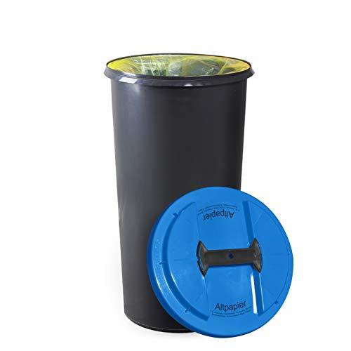 KUEFA BSC6 LA - 60L Mülleimer/Müllsackständer / Gelber Sack Ständer (Blau, Altpapier)