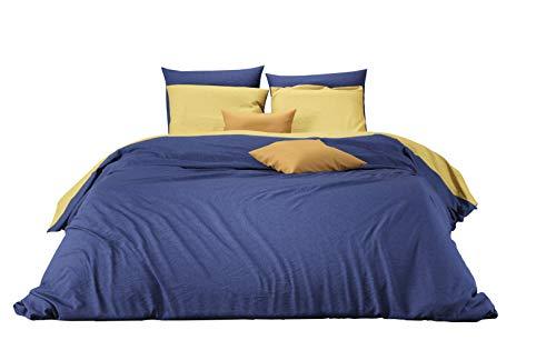 Aminata Kids - Partner-Bettwäsche-Set 200-x-200 cm Uni-Farben-Motiv Zwei-farbig-e 100-% Baumwolle Renforce dunkel-blau-e senf-gelb-e -
