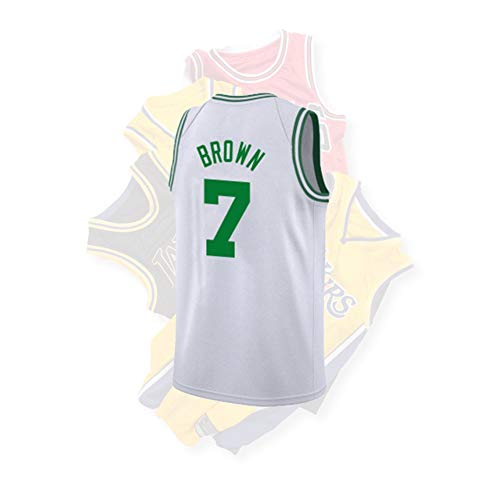 Brown Junge Kostüm - HS--HUWENHUI Basketball League/Boston Celtics # 7 Jaylen Brown Wettkampfanzug Sportweste Atmungsaktive Freizeitkleidung Fan Kostüm,XL185~190CM