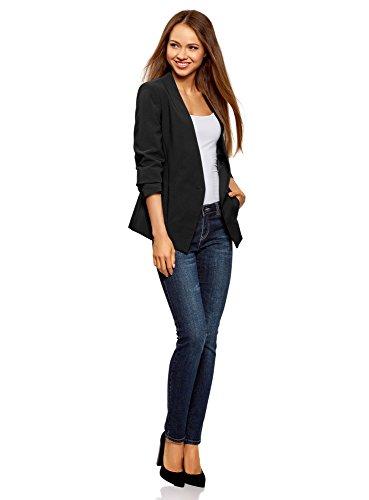 oodji Ultra Damen Taillierter Blazer mit 3/4-Arm Schwarz (2900N)