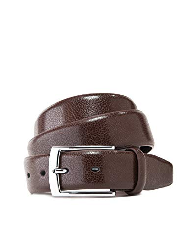 Vincenzo Boretti Cinturón hombre de piel con hebilla plateada, superficie de piel de serpiente marrón oscuro 105 cm