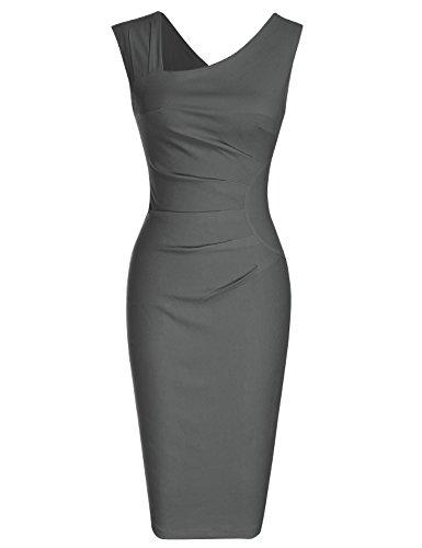 MUXXN Damen Bleistiftkleid V-Ausschnitt Etuikleid Ärmellos Knielang Retro Abendkleid Business Kleid(XL, Grey) (Jahre, 1960er 60er-jahre-baumwolle)