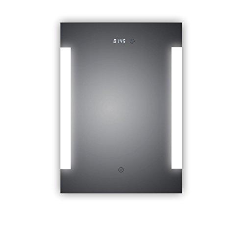 HOKO® Badspiegel LED beleuchtet mit integrierter Digital Uhr, Augsburg 50x70cm, Badezimmerspiegel seitlich beleuchtet, Energieklasse A+ (WEEE-Reg. Nr.: DE 40647673)