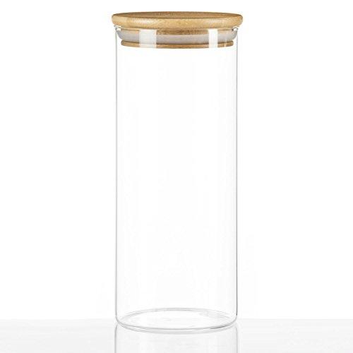 Dimono Vorratsglas aus Borosilikatglas Vorratsgläser Glas-behäler Einweck-Glas mit Bambus-Deckel - Größe L (1 Liter)