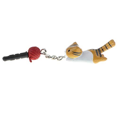 Shiwaki Standard 3,5 Mm Niedlichen Tier Kopfhörer Jack Plug Charm Staub Stopper Für - Gelbe Katze (Kopfhörer Katze Charm)