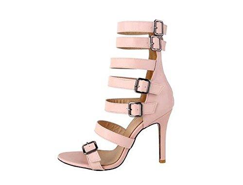 Beauqueen Stivali a caviglia pompe Gladiatore a punta aperta Stiletto Mid Heel Estate Party Sandali Vintage Vintage su misura su misura 32-46 Europa Pink