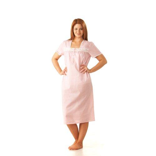 Nightdress. à carreaux femme disponibles en ros'ou bleu à carreaux Taille 38–40 à 28–30. (£ 8,99 & FREE P P) Rose - Rose
