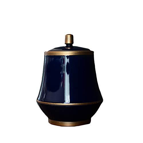 &liyanan Medium Cremation Urn Keepsake Keramik für Pet und Human Ashes Handbemalte Gold Indigo-hält bis zu 50 Kubikzoll Asche,B -