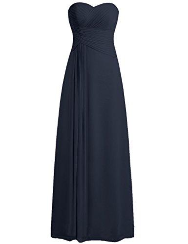JAEDEN Sans bretelles Mousseline de soie Robes de demoiselles d'honneur Longue Robe de bal Robe de f¨ºte Bleu Marine