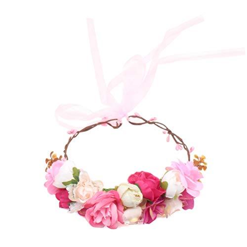 Toyvian Baby Mädchen Kinder Blume Krone Blumenkranz Stirnband Floral Garland Stirnbänder mit Band Foto Requisiten Haarschmuck (Mädchen Handwerk Stirnbänder)