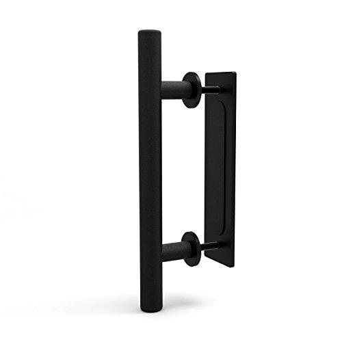 CCJH Tirador y tirador de puerta engastado en negro para puertas corre