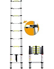 Sonani Portable and Extension 15 Feet Telescopic Folding Aluminium Ladder for Household and Outdoor, 15 Steps, Anodized Silver