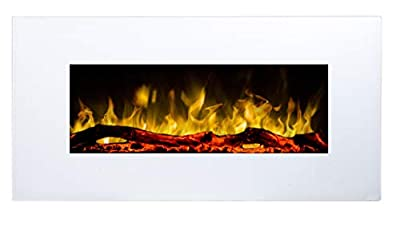 Electric Fireplace Albion 33   Wall-Mounted Fireplace (750 W or 1500 W)   LED fire Simulation   Depth only 14 cm