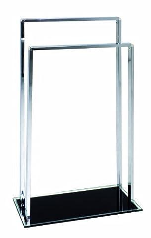 HAKU Towel Rail Chrome Tubular Steel Base Made of Safety Glass Painted Black, 45242
