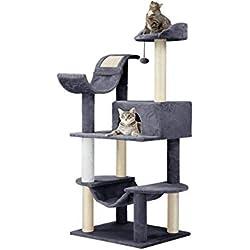 Finether Árbol para Gatos Rascador para Gatos con Nidos Juguete Gatos de Sisal Natural con Columnas, Color Gris