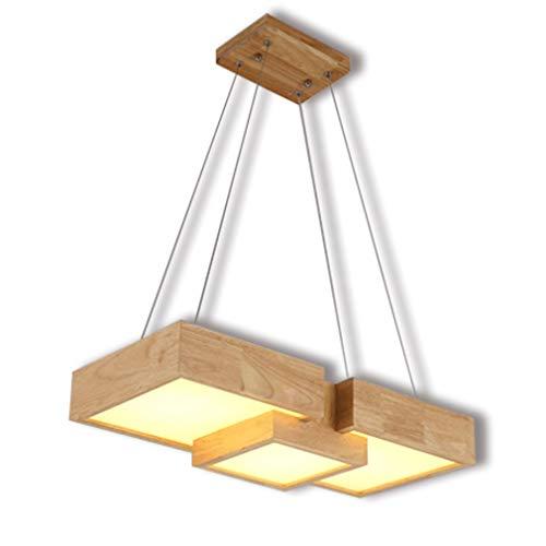 LED Holzlampe Dimmbar Fernbedienung Hängeleuchte Esstischleuchte Modern Holz Lampe Pendelleuchte Esszimmerlampe Höhenverstellbar Kronleuchter Decke Leuchte Beleuchtung Büro Bartheke Café 36w L62 cm