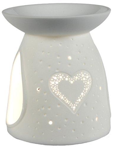 Himmlische Düfte Geschenkartikel GmbH Räder Parfums Cadeau Objet ob951oilburner Lampe parfumée Cœur, Porcelaine, Blanc, 10x 10x 12cm