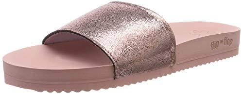 flip*flop Damen Pool metallic Cracked Pantoletten, Pink (Silverpink 9200), 39 EU