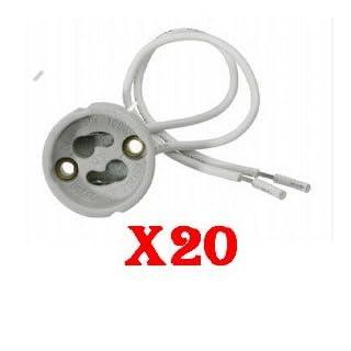20 x Keramik Lampenfassung Halogen LED Fassung GU10 Sockel Halterung 230V