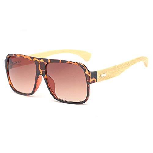 MWPO Retro Square Bamboo Wood Unisex Fashion Fahrbrille mit farbigen Gläsern Polarisierte Brille (Farbe: Leopard Rahmen braune Gläser)