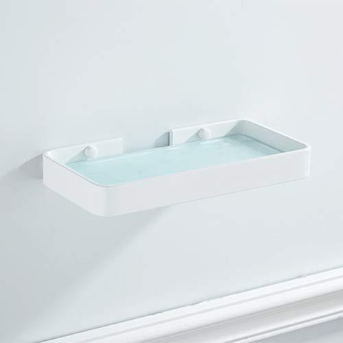 Hbwz Badezimmer-Lavatory Glasdusche-Regal, Selbstbehebung mit Glue oder Wandmontage mit Schrauben, Schwerlastaluminum mit Glas 1 Tier-Speicher,White,45CM -