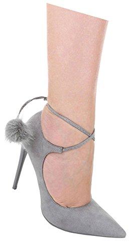 898c8e991211 Damen Pumps Schuhe High Heels Stöckelschuhe Stiletto Mit Deko Pink Beige  Schwarz Blau Grau 36 37
