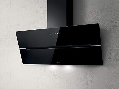 Elica Dunstabzugshaube Wise 90 BK (Umluft/Abluft) schwarz 90cm kopffrei mit LED-Beleuchtung, Randabsaugung, Glas-Front, 4 Motorstufen (echte 691m³/h), sehr leise [Energieklasse B]