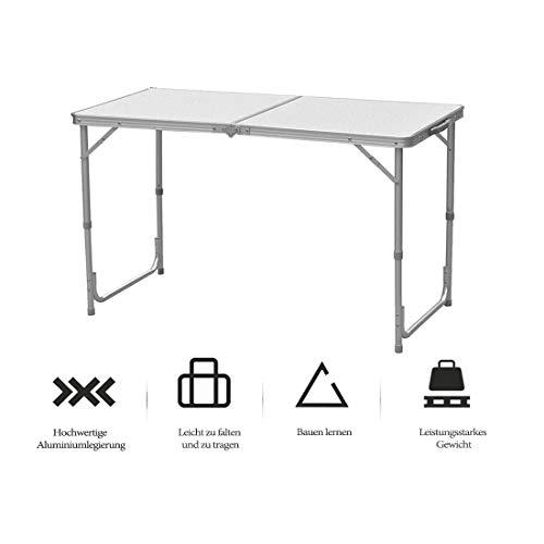 lillimasy 120cm Campingtisch Klapptisch Gartentisch Höhenverstellbar Tragbar Faltbar Picknicktisch Geeignet für Drinnen und Draußen - Mit Griff