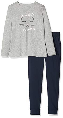 Name IT NOS Mädchen 13173286 Zweiteiliger Schlafanzug, Mehrfarbig(Grey MelangeGrey Melange), 134 (Herstellergröße: 134-140)