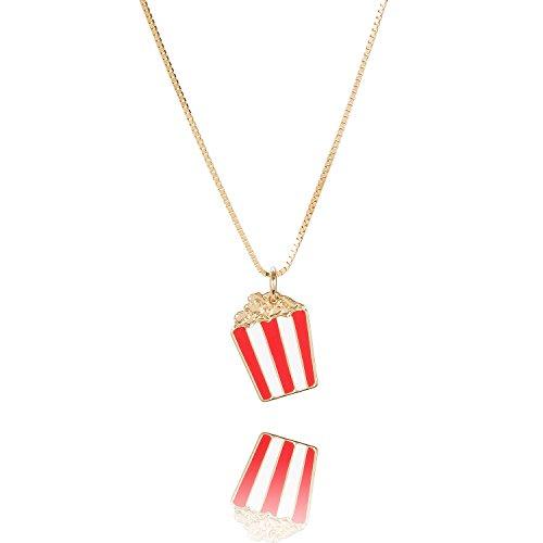 Malaika Raiss Damen Halskette Gold Popcorn Anhänger rot weiß gestreift 24 Karat Vergoldet - N313