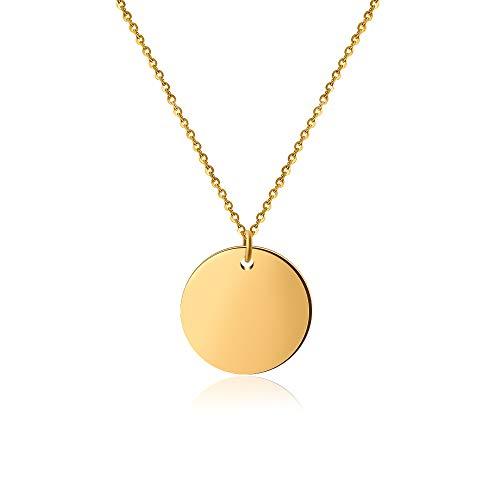 Good.Designs ® Damen Multi Coin Halskette mit einem oder DREI Kreis - Anhänger | Edelstahl (Kettenlänge 45 + 5cm) (Coin Gold)