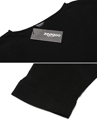 Zeagoo Damen Shirt Oberteile Langarm Rundhals Blusenshirt Casual Asymmetrisch Frühling Herbst A-schwarz