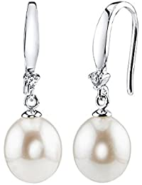 9mm White Freshwater Cultured Pearl & Crystal Ally Earrings