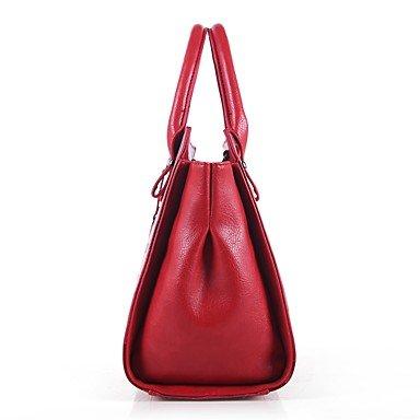 Borsa Donna imposta pu tutte le stagioni outdoor casual Office & carriera lampo Zipper Marrone Rosso Bianco Nero,Bianco Black