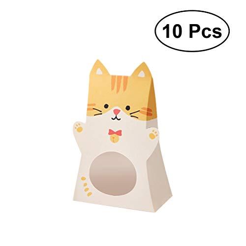 ten-Box mit Niedlichen Tieren, Papier-Geschenk-Container für Geburtstag, Babyparty, Hochzeit, Katze, 10 Stück ()
