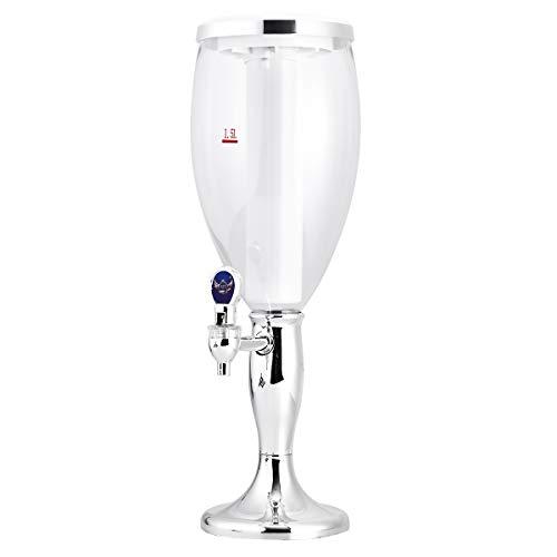 BESTONZON Dispensador de Cerveza refrescante Mesa de Vino Cerveza Torre Dispensador de Jugo de Bebidas con Luces de Colores Brillantes de LED 1.5 L de Plata