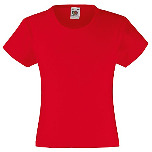 Fruite of the Loom Mädchen Valueweight T-Shirt, vers. Farben Rot