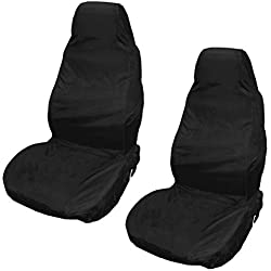 XtremeAuto® Waterproof Car Front/Rear Seat Covers Tear Resistant Fabric in Black (Front Black)