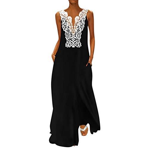 Sonojie Summer Boho New Damen European und American Sleeveless Openwork Lace Party Strand Lässige V-Ausschnitt Kleid Kleid Kleider