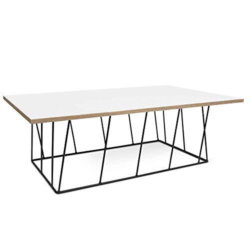 TemaHome Table Basse Helix 120 Plateau Blanc Mat/Bois Structure laquée Noire
