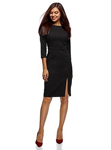 oodji Collection Mujer Vestido con Cremallera y Abertura Lateral, Negro, ES 38 / S
