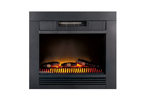 Classic Fire 54211, Stufa elettrica Chicago da incastonare a muro effetto caminetto, illuminazione a led per un maggiore risparmio energetico e due elementi di riscaldamento da 900 W ciascuna, dimensioni 23x67x62cm